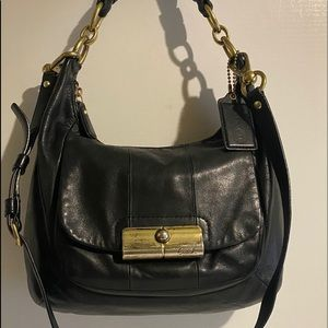 Coach Black leather crossbody handbag